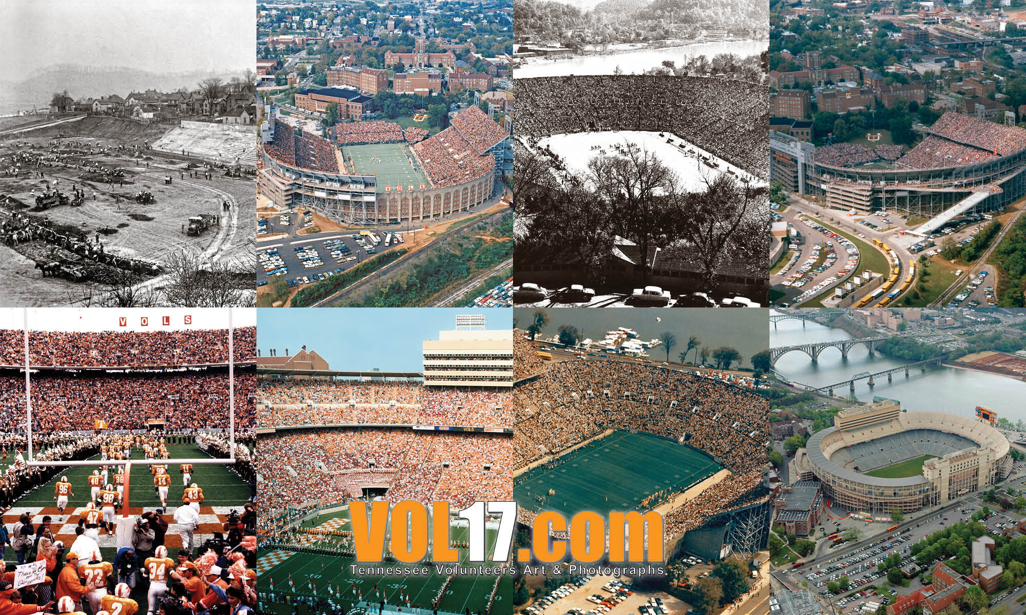 Neyland Stadium Old Collage of Photos